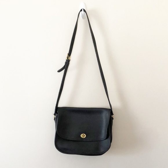 Coach Handbags - Coach Vintage Black Leather Flap Purse